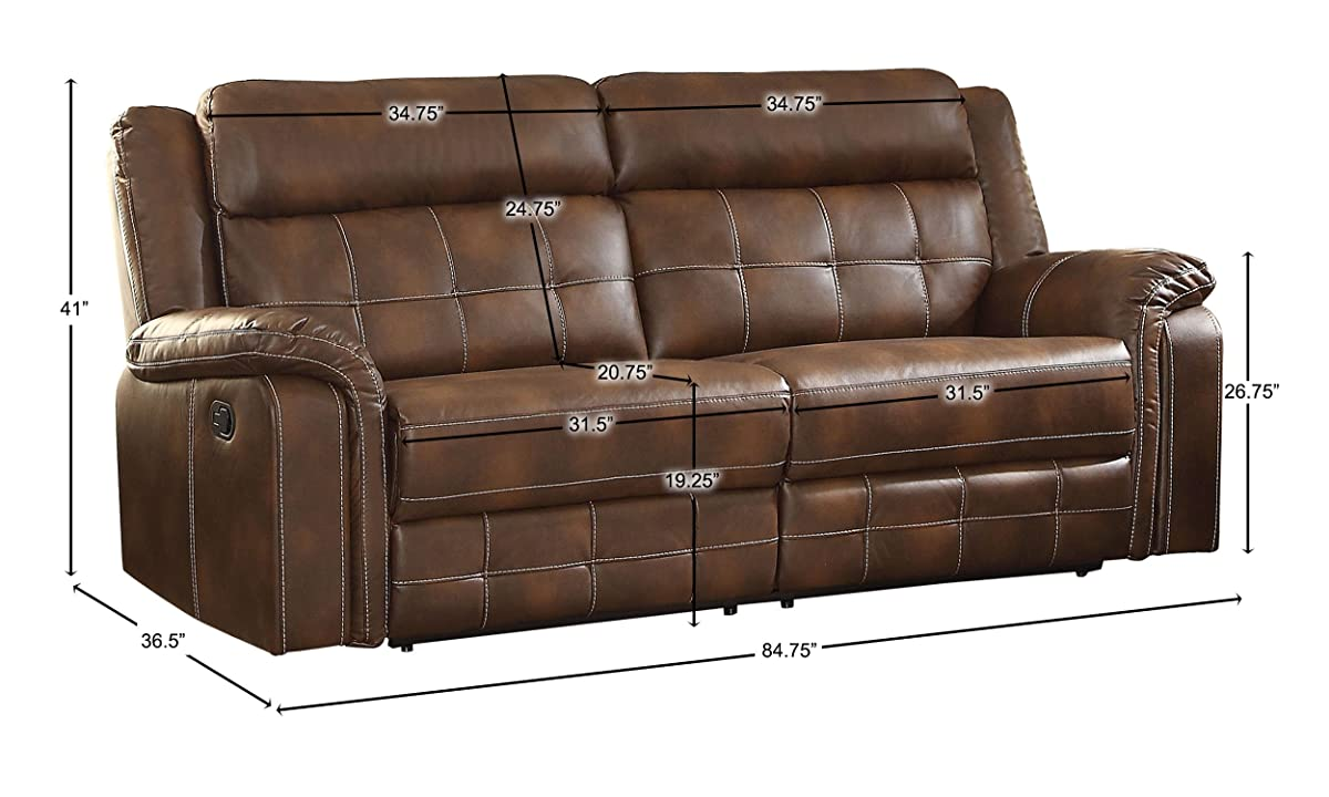 "Homelegance Keridge 85"" Reclining Sofa, Brown"