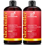 ArtNaturals Shea-Butter Shampoo and Conditioner Set - (2 x 16 Fl Oz / 473ml) - Moisturizing Silk - For Dry Damaged Hair - Avocado, Lychee, Rosehip, Aloe Vera and Coconut - Sulfate-Free (Color: Shampoo and Conditioner, Tamaño: 2 * 16 Fl Oz / 473ml)