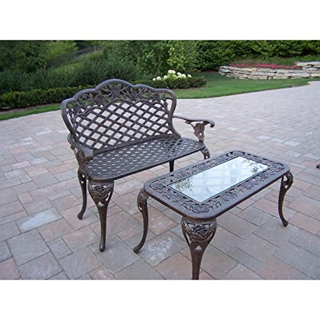 Oakland Living Tea Rose Cast Aluminum Love Seat Bench and Cocktail Table Set