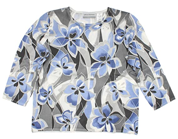 Lake Como Abstract Floral Sweater in Multi By Alfred Dunner