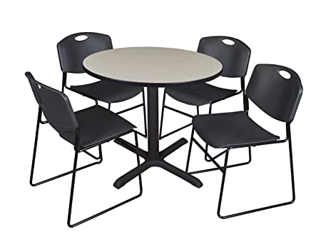 Regency Seating 42-Inch Round Maple Laminate Table with Cain Base and 4 Black Zeng Stack Chairs
