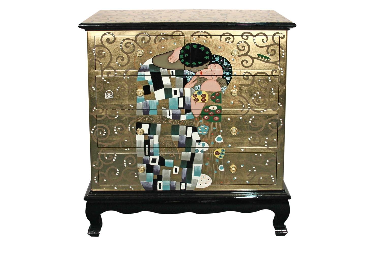 Casa Collection / Art for living by Jänig 09431 Exclsuive Kommode mit 5 Schubfächern, Motiv: Der Kuss, Gustav Klimt, 107 x 95 x 45 cm