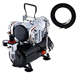 Master Airbrush Model TC-828, High-Performance Twin Cylinder Piston Air Compressor with Tank and a Free 6 Inch Airbrush Hose (Color: Twin Piston Compressor W/ Air Tank & Hose, Tamaño: Powerful Twin Piston Compressor w/ Air Tank & Hose)