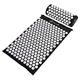 ProSource Acupressure Mat and Pillow Set for Back/Neck Pain Relief and Muscle Relaxation, Black (Color: Black)