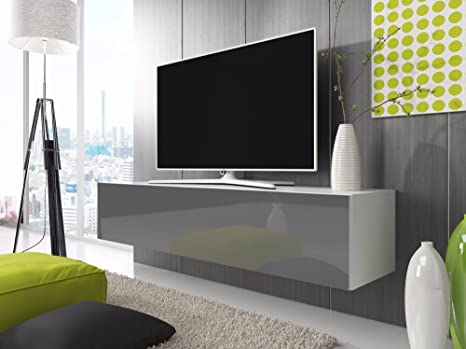 TV LOWBOARD Armario simple (160 cm, blanco / gris brillante)