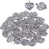 Bonayuanda Pack of 50 Silver Beads DIY Heart Charms Pendants Bracelet Necklace Jewelry Making Accessory(Silver) (Color: Silver)