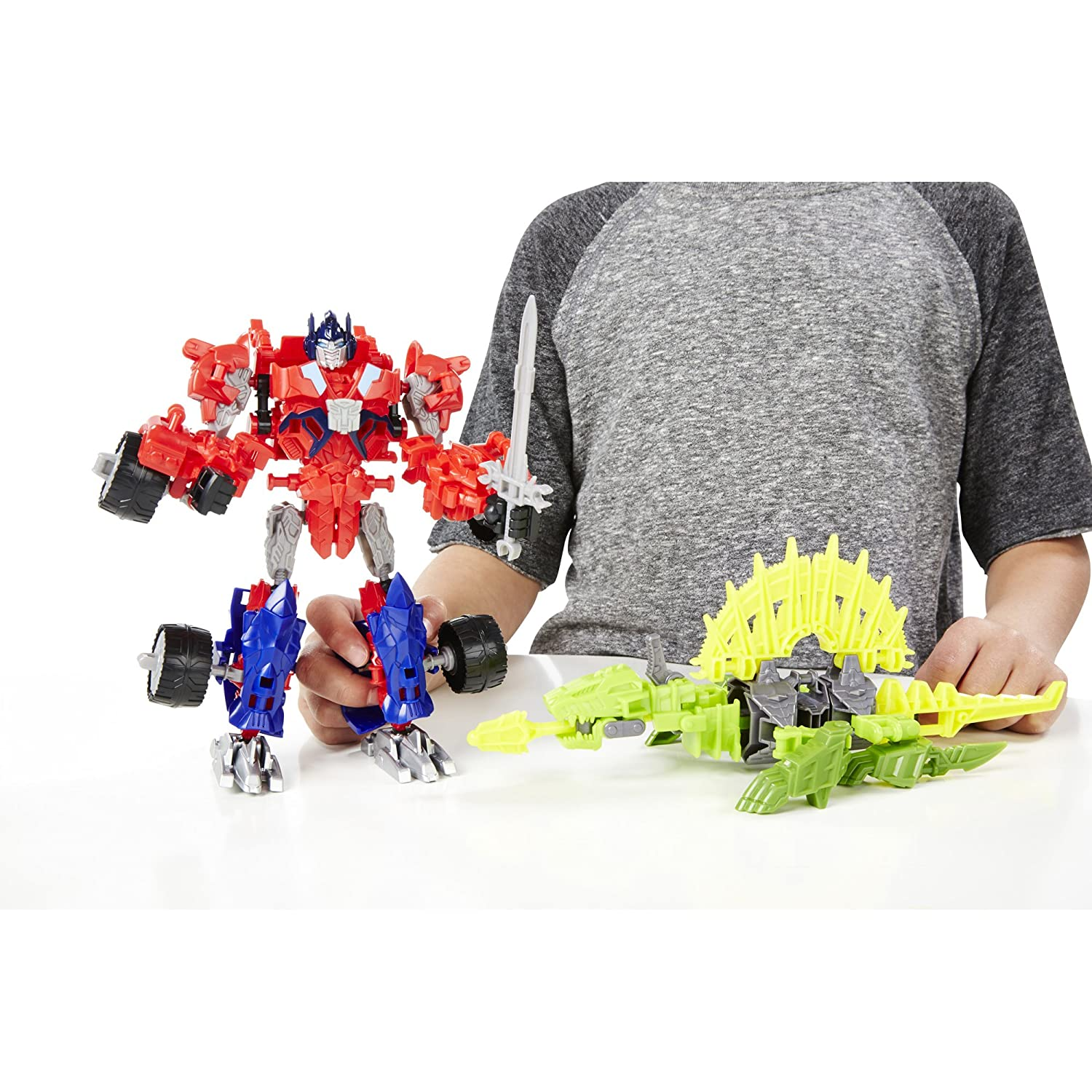 Transformers Age of Extinction Construct-Bots Dinobot Warriors Optimus Prime and Gnaw