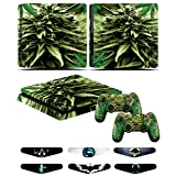 PS4 Slim Controller Skins- Decals for Playstation 4 Slim Games - Stickers Cover for PS4 Slim Console Sony Playstation Four Accessories with Dualshock 4 Two Controllers Skin - Skunk Bud (Color: Skunk Bud)