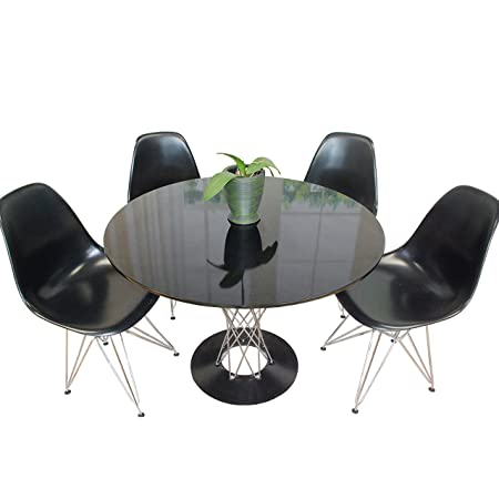 Mod Made Contemporary Twist 5-Piece Dining Set, 39-Inches, Black Table/Black Chairs