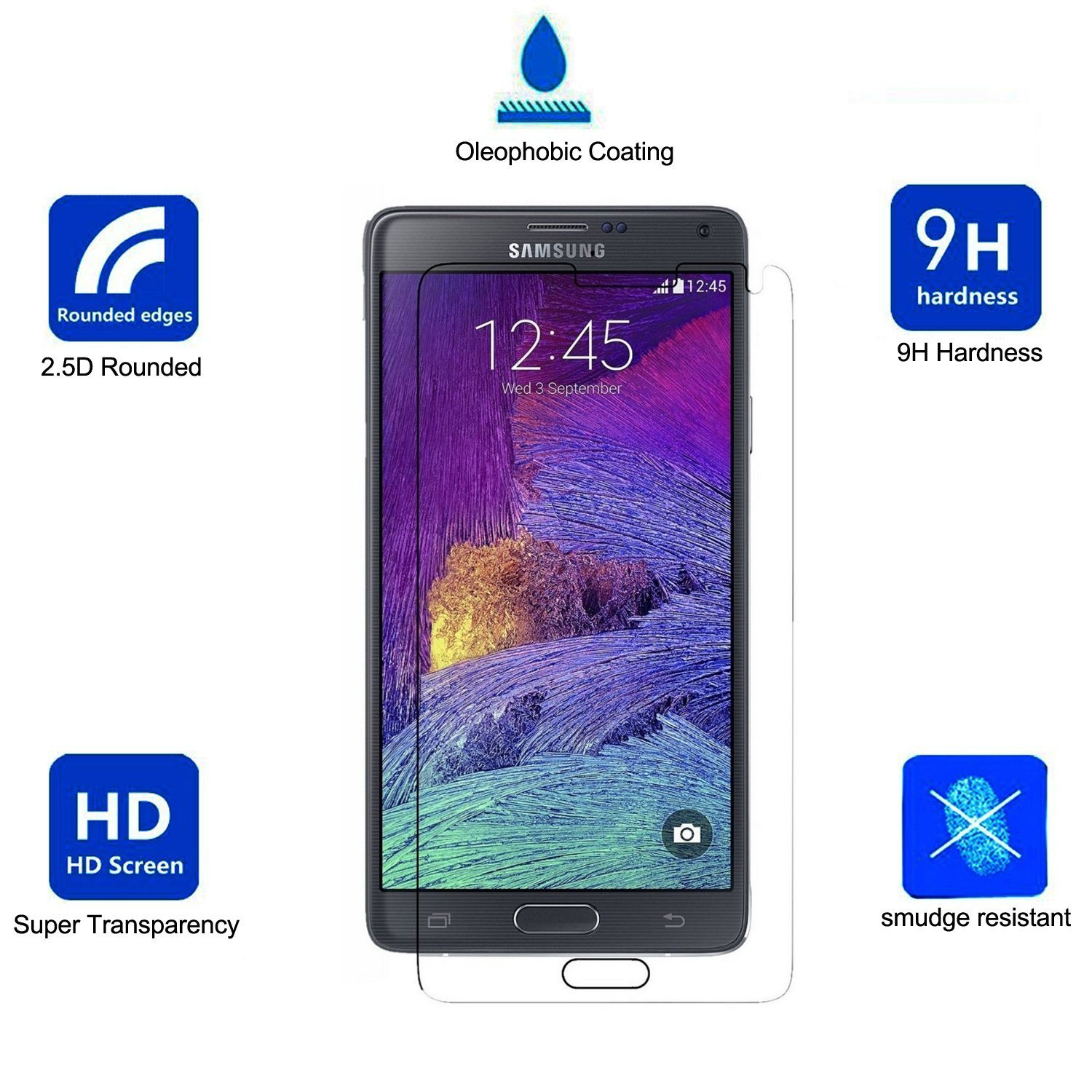 TooSell® Tempered Glass Screen Protector for Galaxy Note