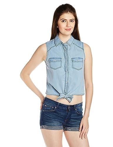 People Women's Button Down Shirt (P20402165611237_Light Blue_Small)