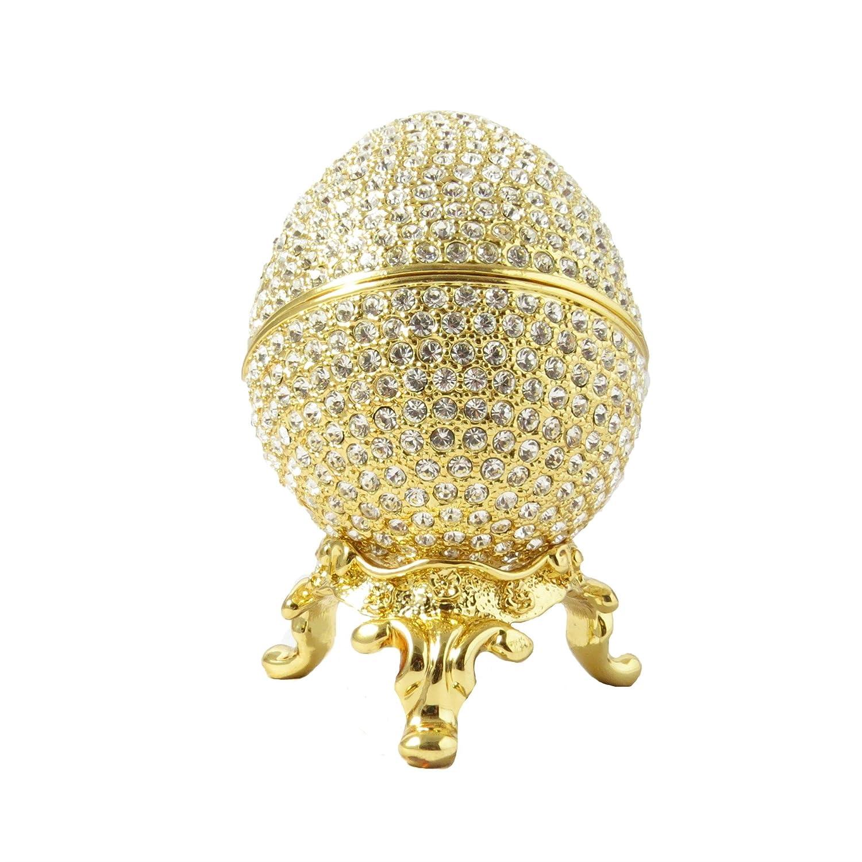 Faberge Style Egg Box 24K Gold Colored Swarovski Elements Crystal Russian Figurine Trinket Pill Jewelry Box
