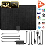 Updated 2019 Version Professional Carbon Fibre 120+ Miles TV Antenna, Indoor TV Digital HD Antenna 4K HD Freeview Life Local Channels All Type Television Switch Amplifier Signal Booster (Tamaño: 10miles)