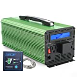 EDECOA 3000W Power Inverter Modified Sine Wave DC 12V to AC 110V Converter with Remote Controller 2 US Socket and 1 Hardwire Terminal (Color: Green)