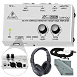 Behringer MICROMON MA400 Compact Monitor Headphone Amplifier with Microphone Input and Accessory Bundle w/ Closed-Back Headphones + More