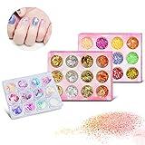 DR.DUDU 36 Pack Nail Glitter Flakes, Foil Nail Art & Shell Foil Slice & Nail Art Star Sequins Nail Decorations