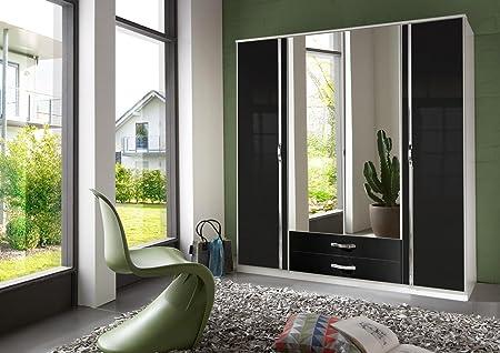 Wimex 067453 Trio Armoire 4 Portes Battantes Bois Blanc/Laqué Noir Cassé 58 x 90 x 198 cm
