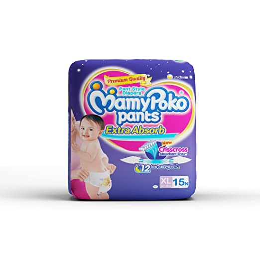 Mamy Poko Pant Style Extra Large Size Diapers (15 Count)