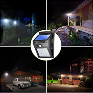 LivEditor Outdoor Solar Lights,Super Bright LED Motion Sensor Lights with Wide Angle Illumination, Wireless Waterproof Security Lights for Wall, Driveway, Patio, Yard, Garden -  4 Pack (Color: Cool White 4pack)