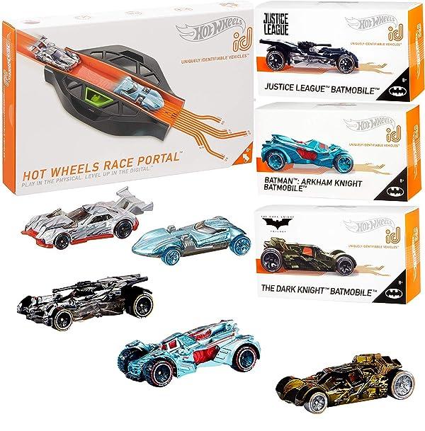 Hot Wheels BatRacer Batmobile car {id} Collection + Batman Series Arkham Asylum + Justice League & Dark Knight + Race Portal Level Up Digital Tack 4 Items (Color: Multi)