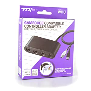 TTX Tech GameCube Compatible 4 Port Controller Adapter for Wii U and Switch