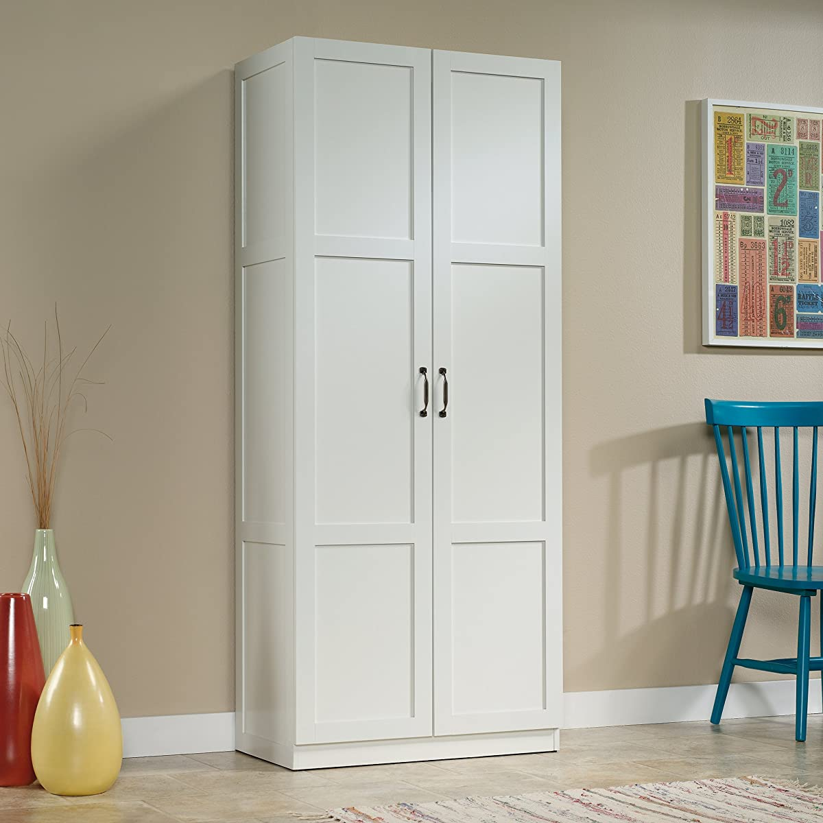 Sauder Storage Cabinet, Soft White Finish