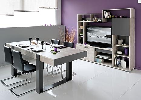 Table à manger pieds arches, coloris chêne grisé
