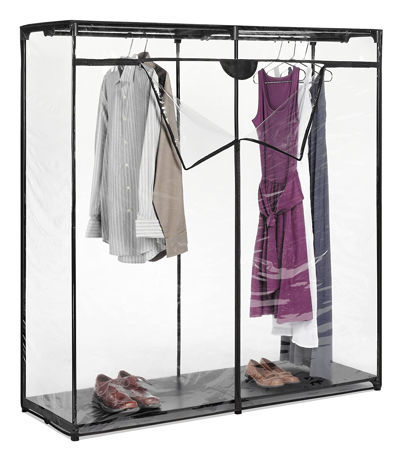 "Closet Clothes Rack: Heavy Clothes Portable Closet Storage Rack 60"" Clear Cover"