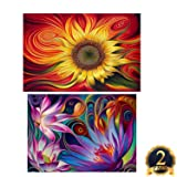 2 Pack 5D DIY Diamond Painting Set Decorating Wall Stickers Crystal Rhinestone Diamond Embroidery Paintings Pictures, Sun Flowers Painting(12X18inch) And lotus Fowers Painting(16X12inch)