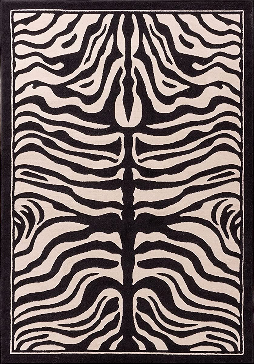 "Black and White Grey Zebra Print Area Rug 710"" x 910"" Casual Modern Rug for Dining Living Room Bedroom Easy Clean Carpet"