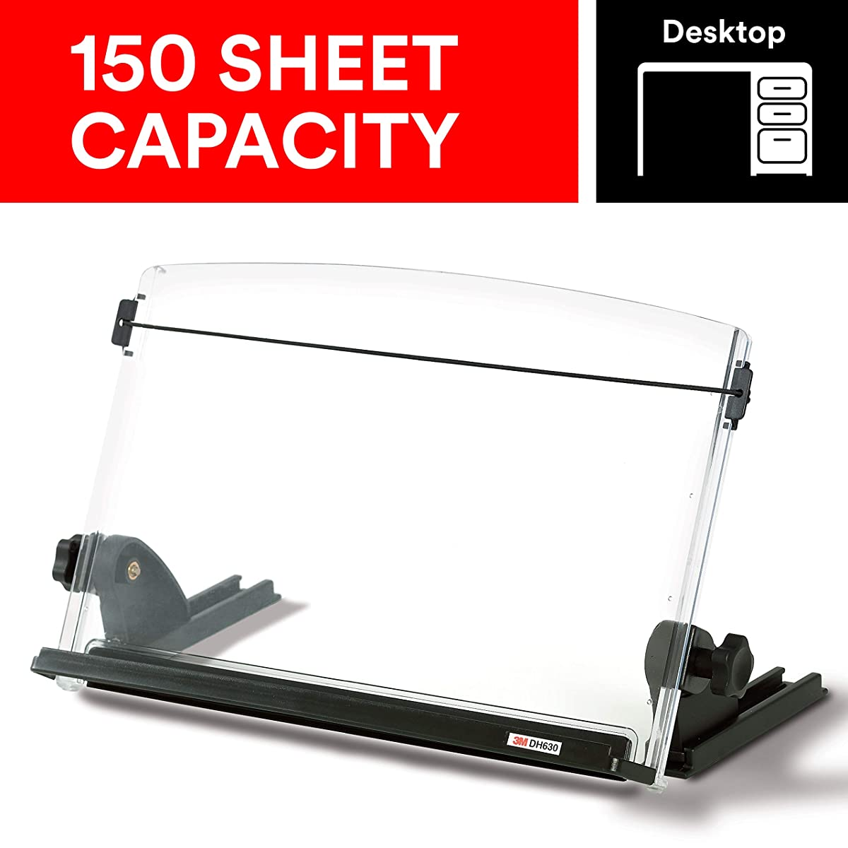 "3M Adjustable Document Copy Holder, In-line with Monitor Minimizing Head and Neck Movement, 150 Sheet Capacity Holds Sheets to Books, Elastic Line Guide Keeps Pages Open, 14"" Wide, Black (DH630)"