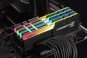 G.SKILL 32GB (4 x 8GB) TridentZ RGB Series DDR4 PC4-24000 3000MHz Desktop Memory Model F4-3000C14Q-32GTZR