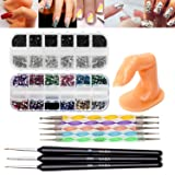 Fantastic Price Professional Nail Art Accessories Practice Set With Best Quality Acrylic Dummy Finger, Fine Wooden Nails Brushes / Stripers / Liners And Boxes of 5000 Colorful, Silver, Black Rhinestones / Crystals / Gemstones And Dotting Tools / Dotters By VAGA
