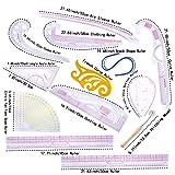 MIUSIE Practical Fashion Ruler Set -12 Style Fashion Pattern Design Ruler- Sewing Pattern Making Tools with Stitching Wheel Tool for Designing Patterns (Tamaño: 12 Pcs)