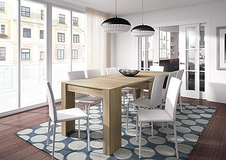 Habitdesign 004580F - Tavolo per sala da pranzo, estensibile fino a 235 cm, finitura in quercia naturale