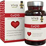 Viva Naturals CoQ10 400mg, 60 Vegetarian Softgels - Enhanced with BioPerine for Increased Absorption (Tamaño: 60 Vegetarian Softgels)