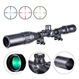 Pinty 3-9X40 Rifle Scope AO Red Green Blue Illuminated Mil Dot with Flip-Open Covers & Sunshade Tube (Color: black, Tamaño: 3-9X40)