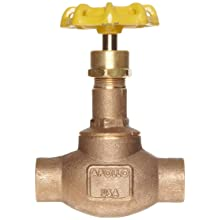 Apollo 120S Series Bronze Globe Valve, Class 125, Inline, Threaded Bonnet, PTFE Seat, Solder End