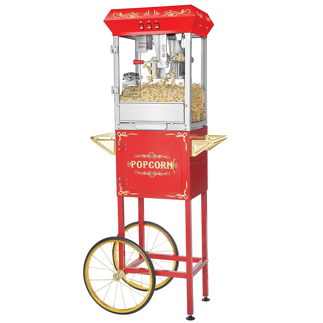 Great Northern Popcorn 6097 8 OZ Foundation Red Full Antique Style Popcorn Popper Machine Complete with Cart and 8-Ounce Kettle 0