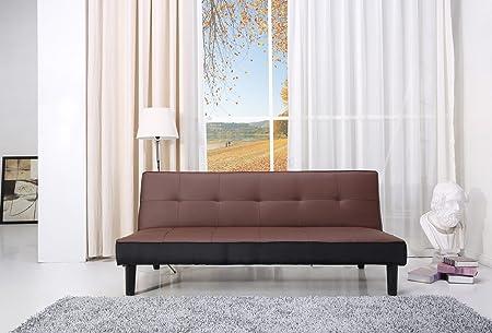 Paulo Schlafcouch Kunstleder braun/schwarz Schlaffunktion Sofa