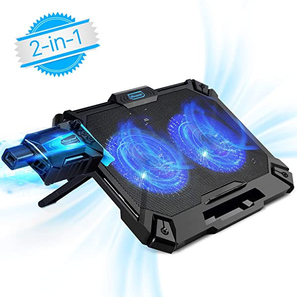Laptop Cooler 15.6 Inch, Mbuynow 2 in 1 Laptop Cooling Pad with Mini Vacuum USB Laptop Fan - Slim Portable - Intelligent Temperature-Control, Silencer, 8 Level Adjustable Height Stand and Phone Holder (Color: Black, Tamaño: 15.70*11.20*0.70-inch)