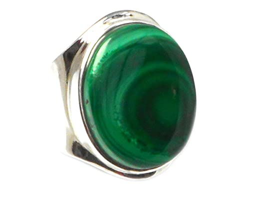 Adjustable MALACHITE Sterling Silver 925 Gemstone Ring - (MLR2007161)