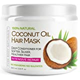 Coconut Oil Hair Mask, Deep Conditioning Hair Treatment for Dry Damaged and Color Treated Hair, Sulfate Free Conditioner, Moisturizes, Repairs, Restores by Pure Body Naturals, 8.8 Fl. Ounce (Tamaño: 1 Pack)