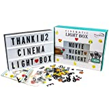Cinema Light Box with Letters - Vintage Cinematic Light Up Message And Note Sign With 192 Letters, Numbers, Symbols & Emojis – Personalized A4 White LED Lightbox With Extra Long Durable USB Cable (Color: White)