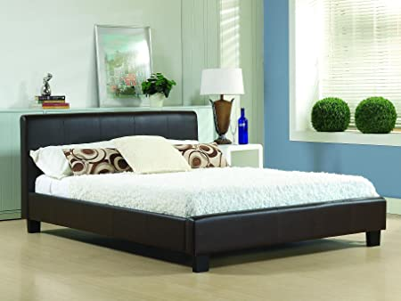 NEW 4ft 6 BROWN MODERN DOUBLE GENUINE REAL LEATHER BED FRAME