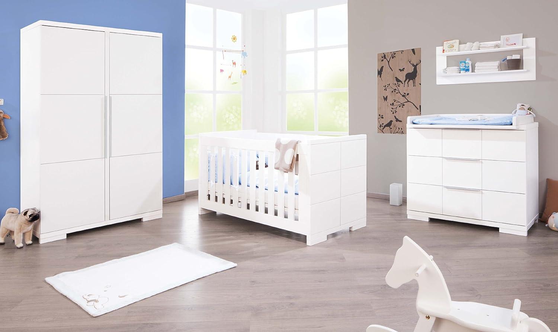 Pinolino Kinderzimmer Polar breit, 3-teilig, Kinderbett (140 x 70 cm), breite Wickelkommode mit Wickelaufsatz und Kleiderschrank, weiß Edelmatt (Art.-Nr. 10 34 21 B) online bestellen