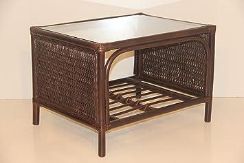 Djem Rattan Wicker Handmade Coffee Table with Glass Dark Brown