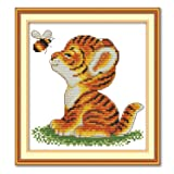 Cross Stitch Stamped Kits Quilt Pre-Printed Cross-Stitching Patterns for Beginner Kids Adults, Embroidery Crafts Needlepoint Starter Kits, Tiger and Bee (Color: Stamped 15.8×15.8inch, Tamaño: 15.8x15.8 inch)