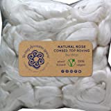 Rose Fiber for Spinning Blending Dyeing. Luxurious Rare Organic Vegan Combed Top (Color: White Rose, Tamaño: 2oz Singles)