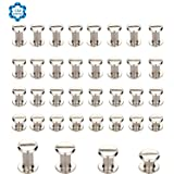 SOTOGO 120 Count Silvery Chicago Screws Assorted Kit 1/4 1/3 3/8 1/2 Inches Screw Posts Metal Accessories Nail Rivet Chicago Button For DIY Leather Decoration Bookbinding Round Flat Head Stud Screw (Color: Silver)